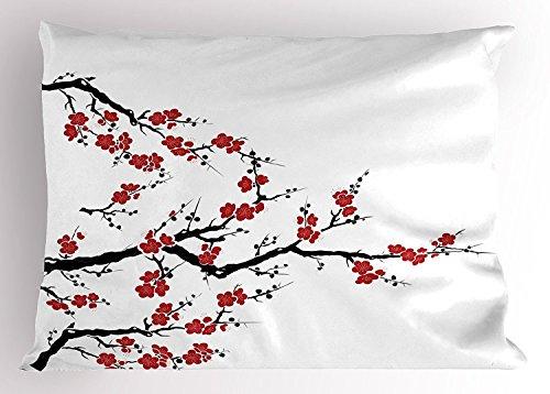 UCKPICASE Japanese Pillow Sham, Simplistic Cherry Blossom Tree Asian Botanic Themed Pattern Fresh Organic Lines Art, Decorative Standard King Size Printed Pillowcase, 20X30 inches, Red Black (Blossom Sham)