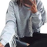 TianWlio Langarm Bluse Damen Frauen Mode Lässige Langarm Übergröße Mode Langarm Rundkragen Bluse Fashion Tops