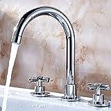 Hlluya Wasserhahn für Waschbecken Küche Doppel tippen Sie auf Kupfer Kaltes Wasser in Split 3-Loch Armatur Chrom Silber