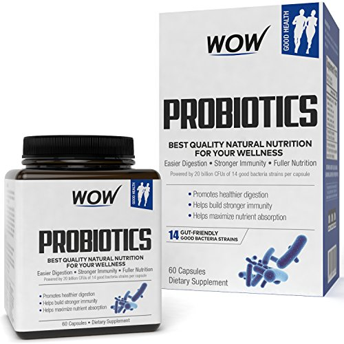 Wow Probiotics 20 Billion per Capsule 14 Probiotic Strains -...