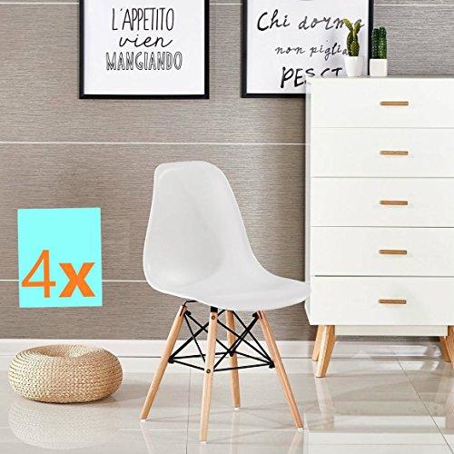 KunstDesign 4er Set Mid Century Modern Esszimmerstühle, Buche Holzbeine und Stabile Metallrahmen - für Esszimmer, Küche, Schlafzimmer, Lounge - Easy-Assemble & Clean - Weiß (Moderne Esszimmer-set)