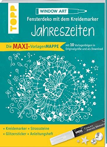 Maxi-Vorlagenmappe Fensterdeko mit dem Kreidemarker - Jahreszeiten. Inkl. Original Kreul-Kreidemarker, Sticker und Glitzer-Steinchen: 10 Vorlagebögen ... Ideen, sämtliche Motive als Download