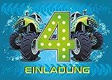 12 Einladungskarten 4. Geburtstag Kinder Junge Monstertruck blau / Monster-Truck / Auto / Einladungen zum vierten Kindergeburtstag für Jungen