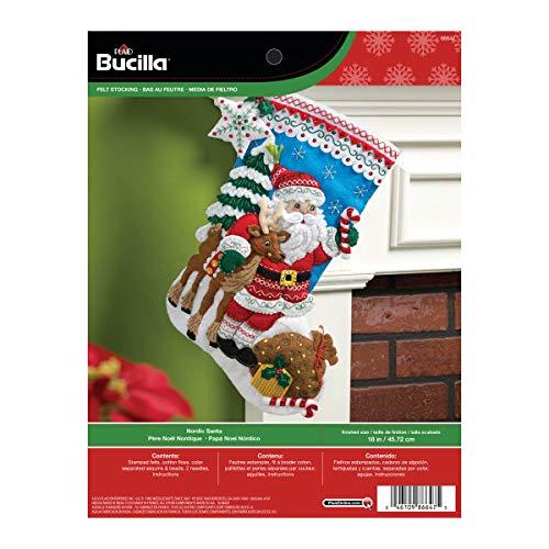 Bucilla Nordic Santa Weihnachtsstrumpf Filz Aufnäher kit-18-inch lang (Weihnachtsstrumpf Filz Kit)