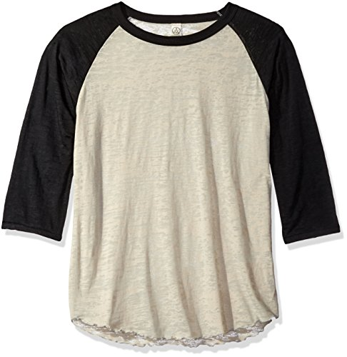 White Burnout L/s T-shirts (Alternative Damen Big League Burnout Baseball Te Hemd, Natur/schwarz, Groß)