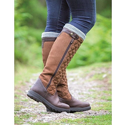 Shires Moretta Lena Stiefel-Damen Lang Reiten Leder Wasserdicht Country, braun - Pferd Body Protector