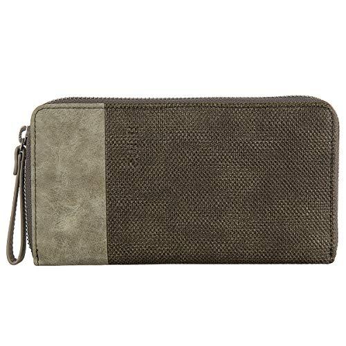Zwei Eva EV2 Reißverschluss Geldbörse Portemonnaie Geldbeutel Brieftasche,Canvas-basalt (Braun)