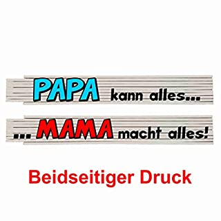Zollstock mit Spruch: Papa kann alles, Mama macht alles!