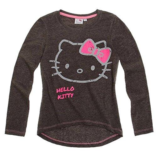 Hello Kitty Langarmshirt Sweatshirt für Mädchen 3 Motive grau, rosa und weiß, Größe:128, Farbe:dunkel melange (Hello Sweatshirt Mädchen Für Kitty)