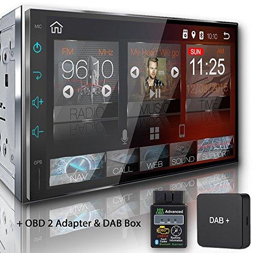 Tristan Auron BT2D7018A Autoradio mit Android 8.0 + OBD 2 Adapter und DAB Box, 7'' Touchscreen Bildschirm, GPS Navi, Bluetooth Freisprecheinrichtung, Octa Core, MirrorLink, USB/SD, DAB+, 2 DIN Auto