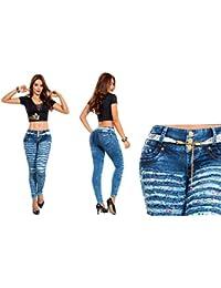 Vaqueros Jeans Azules Rasgados Wonder / Push Up Súper Pitillo Skinny Jeans Efecto Wonder Colombiano 100% Levanta Glúteos Pantalon Mujer