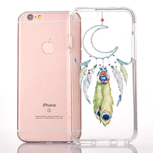 iPhone 6 Silikonhülle - Felfy Ultra Slim Dünnen Weiche Gel Druck Liebe grün und rosa Anker Muster TPU Back Case Cover Zurück Tasche Etui für Apple iPhone 6S 6 4.7 Zoll + 1x Black Stylus + 1x Displaysc Mond Campanula