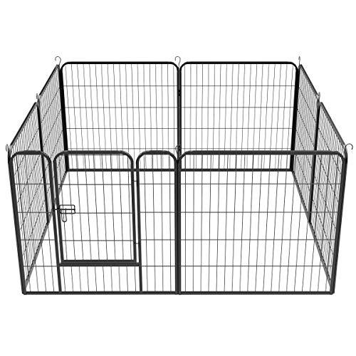 Yaheetech 8 Elemente Welpenauslauf Welpengehege mit Tür Absperrgitter 80 x 80cm Freilaufgehege Welpenzaun für Hasen Kaninchen Hunde Meerschweinchen