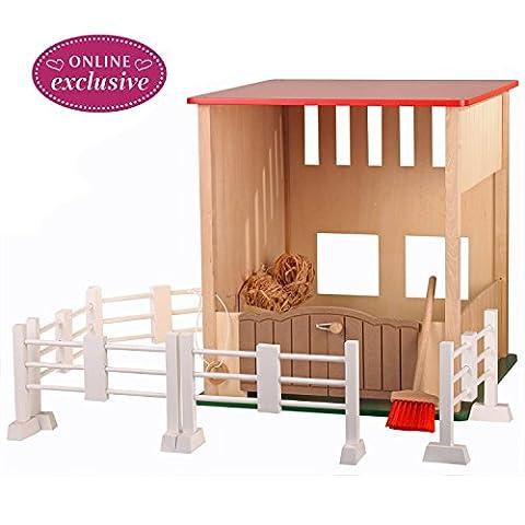 Götz 3402632 Pferdestall für Puppen und ihre treuen Gefährten - das unerlässliche Zubehör für Pferdefreunde - geeignet ab 3 Jahren