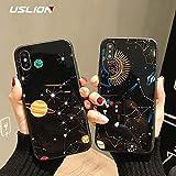 XUHAHASJK Handyhülle/Glossy Space Planet Sterne Telefon Fall Für iPhone X Luxus Glas Harte Rückseitige Abdeckung Für iPhone 8 7 6 6 S Plus Fällen