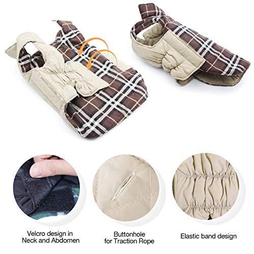 Haustier Hund Plaid Jacke Hoodie Mantel Pullover Schneefest Kleidung Herbst Winter Kleidung Warm Gepolsterte Wendeauflage Apparel Weste Kleidung Hunde mantel Brustschutz für Hunde (L,Braun) - 4