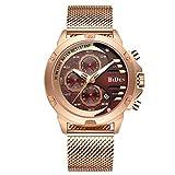 TYWZF Watch Männer Sport Männlich Armbanduhr Rose Gold Anzeige Datum Chronograph Edelstahl Mesh,Gold