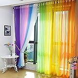 Fenster Vorhang Sheer, bunt, floral Tüll Voile Tür Vorhang Panels für Wohnzimmer, Voile Vorhang Panel (1Stück, schwarz)