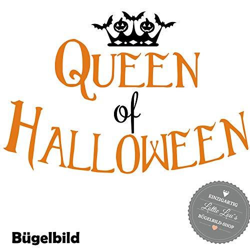 Bügelbild Aufbügler Queen of Halloween in Flex, Glitzer, Flock, Effekt in Wunschgröße