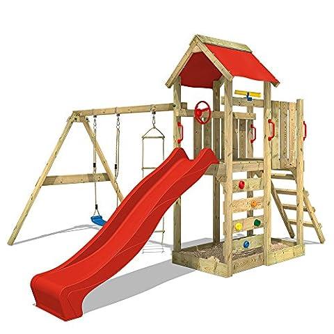 WICKEY Spielturm MultiFlyer Kletterturm Spielplatz Garten mit Schaukel, Rutsche und Kletterwand, rote Rutsche + rote