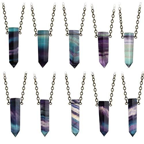 JMZDAW Halskette Anhänger Zufällige Farbe! Natürliche Fluorit Quarz Stange Halskette Fashion Crystal Point Heilung Stein Kette (Crystal Point Halsketten)