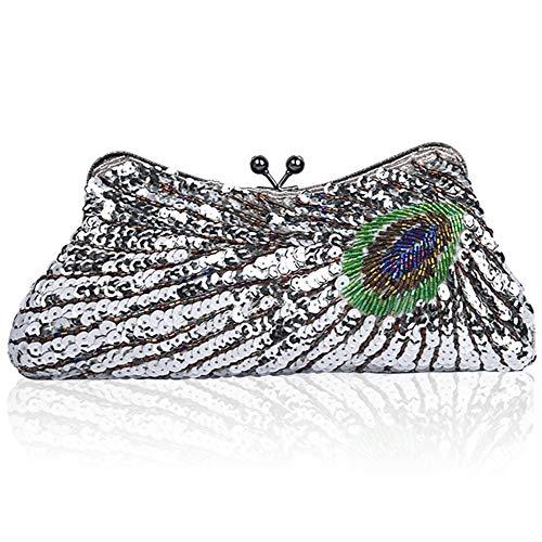 1 Silber-handtasche (Coucoland Clutch Damen Pfau Muster 1920s Handtasche Abend Party Geldbeutel Elegante Abschlussball Handtaschen Hochzeit Braut Zubehör (Stil 1-Silber))