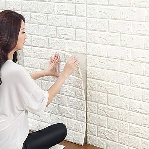 3D Carta da Parati Mattoni Bianco, YTAT 3d Muro Di Mattoni adesivi pannelli, Carta da Parati per Cucina, Bagno, Soggiorno, Salone, Ufficio, TV Sfondo