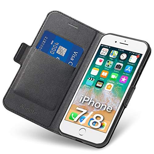 Hülle iPhone 7, iPhone 8 Schutzhülle mit Kartenfach und Ständer, iPhone 7 Tasche Leder, Phone 8 Handyhülle, Etui Folio, Flip Cover Case, PU TPU Klapphülle, Komplettschutz Apple 7/8 4.7 Zoll. Schwarz