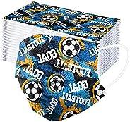 TJCJIEM 50/100 Piezas 𝐌𝐚𝐬𝐜arillas Desechables para Niños Infantiles con Impresión de Fútbol Deportes Dibuj