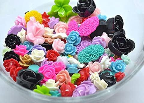 100pcs Mix Resin Cabochon Rose Flower Embellishments Scrapbooking Wedding Cards by Bead Boutique