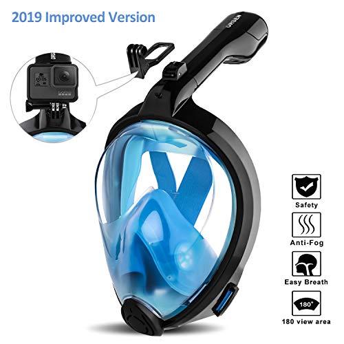 ORSEN Tauchmaske Vollgesichtsmaske für Erwachsene & Kinder, Faltbare Schnorchelmaske Vollmaske mit 180° Sicht und Action Kamera-Halterung, Müheloses Atmen, Kein Beschlagen