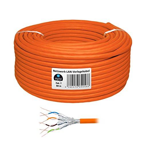 HB Digital Netzwerkkabel LAN Verlegekabel cabel 50m cat 7 Kupfer PROFI S/FTP PIMF LSZH Halogenfrei orange RoHS-compliant cat. 7 Cat7 AWG 23/1 (Voip Voice-modem)
