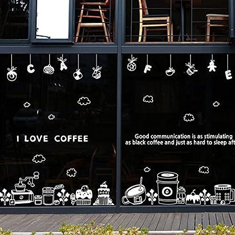 coffee shop,cake shop,verre autocollants pour fenêtres/machine à café,stickers muraux/autocollants pour fenêtres décoratives-A