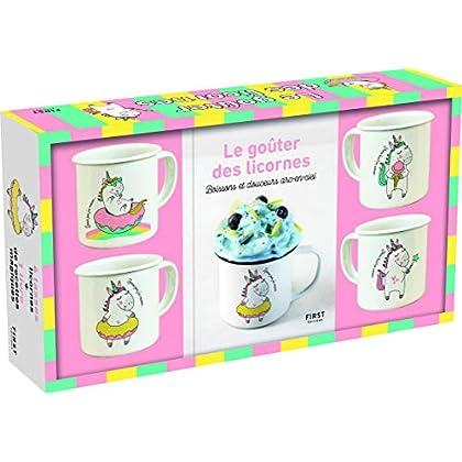 Coffret Le goûter licorne : un livre de recettes + 4 tasses en émail 'licorne'
