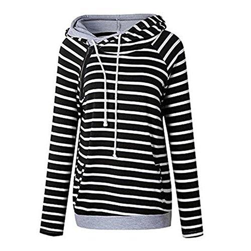 Newbestyle Femme Pulls Printemps Automne Sweats-shirt à Capuche Rayures Hoodies Loisir Pullover Dessus Noir