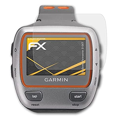 Garmin Forerunner 310XT Displayschutzfolie - 3 x atFoliX FX-Antireflex blendfreie Folie Schutzfolie (Garmin 310 Xt)
