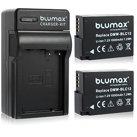2x Blumax Akku für Panasonic DMW-BLC12 / DMW-BLC12-E 1000mAh + Ladegerät DMW-BLC12   passend zu Lumix DMC: G5   G6   GX8   G70   G81   GH2   FZ200   FZ300   FZ1000   FZ2000   Leica V-Lux 4
