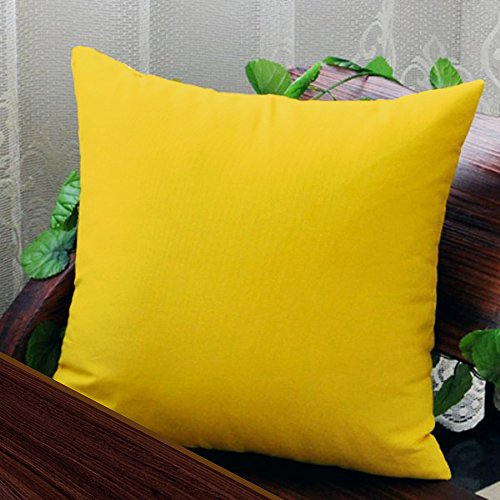 AURAVE Solid Plain Premium Cotton Cushion Cover - Yellow - 16 inch x 16 inch