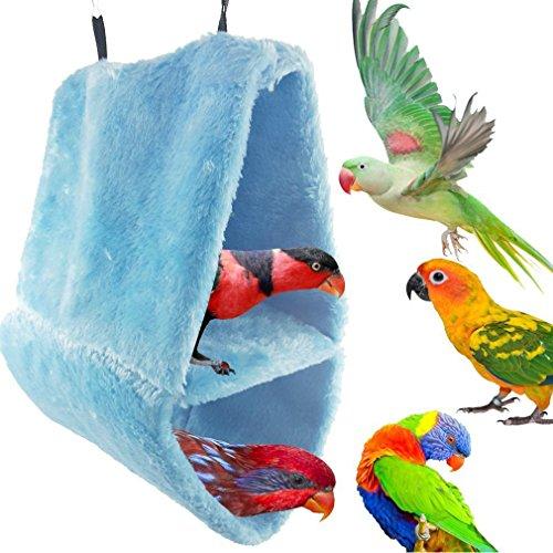 YaToy Invierno terciopelo de nido de pájaro,Colgante cueva jaula de felpa,Azul