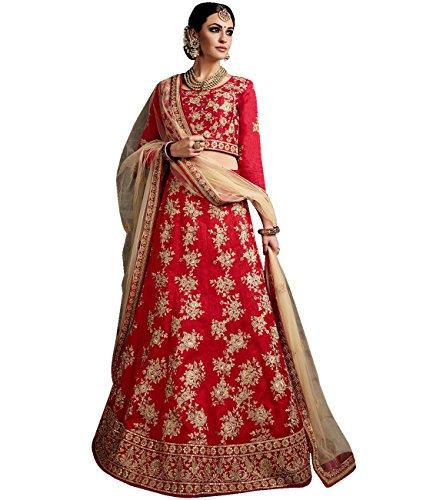Indian Ethnicwear Bollywood Pakistani Wedding Red A-Line Lehenga Semi-stitched