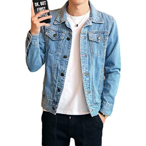 CuteRose Men with Pockets Bomber Loose Vintage Wash Denim Jacket Outwear Light Blue S Medium Wash Denim Vest