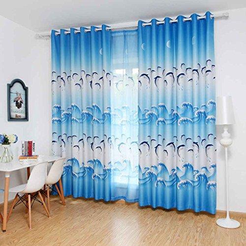 Blauer Hof (meisijia Fenster Vorhänge Nette Dolphin Blackout Vorhang Panel für Schlafzimmer Wohnzimmer blau hof mit haken 100 * 250 cm)