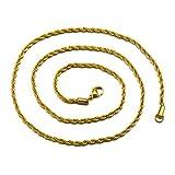 UM Joyería 3 mm Hombres Mujer Acero inoxidable Retorcido Cuerda Cadena Collares 60cm