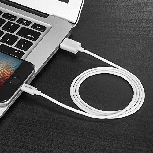 Anker Lightning to USB iPhone Cable 3ft/0.9m High Life Span Cable with Compact Connector Head for iPhone 8/8 plus/X/7/6s/6/SE/5s and More (White)