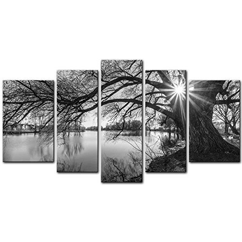 5 Pieces Modern Canvas Painting Wall Art The Picture For Home Decoration Black And White Tree Silhouette In Sunrise Time Lake Landscape Print On Canvas Giclee Artwork For Wall Decor by My Easy Art - Sunrise Tree