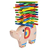 Natureich Elefant Montessori Stapel Spielzeug aus Holz zum Geschicklichkeit lernen mit Stäbchen Bunt / Natur ab 3 Jahre für die frühe Motorik Entwicklung & Ausbildung Ihres Kindes (Bunt)