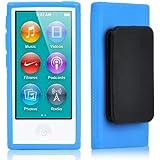 TRIXES Coque bleue en gel TPU avec clip ceinture pour iPod Nano 7ème Génération d'Apple