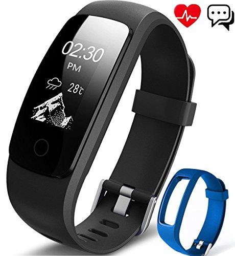 Fitness Armband, Aneken Fitness tracker mit Herzfrequenz, Schrittzähler Aktivitätstracker Pulsmesser Bluetooth Smart ArmbandUhr Schlafmonitor Wasserdicht Kalorienzähler Vibrationsalarm Anruf SMS Beachten kompatibel mit Android/iOS Schwarz Blau