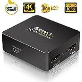 HDMI Splitter, AMANKA 4k UHD HDMI Verteiler 1 auf 2 3D Ready Auflösung Wird Automatisch Erkannt Unterstützt HDMI 1.4 und HDCP - Vergoldete Kontakte - Schwarz