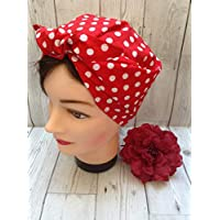 Red Rosie the Riveter polka dot vintage style headscarf, chemo hair loss head cover